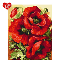 Red Flower DIY Framed Picture Painting By Numbers DIY Digital Canvas Oil Painting Acrylic Coloring Drawing