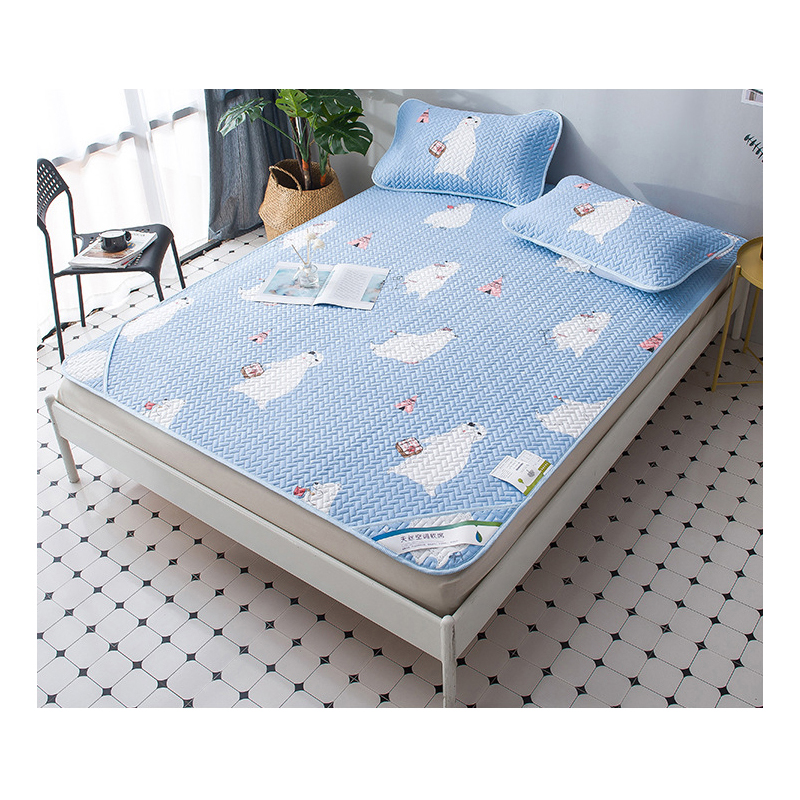 Textile à la maison été Cool mince tapis couverture de lit en Fiber de Viscose ensemble de draps housse de couchage matelas protecteur couvre-lit
