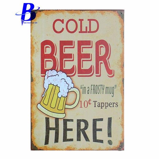 Vintage Metal Car Signs Cold Beer Here Vintage Metal Tin Signs