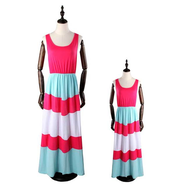 Mommy and me family matching mother daughter dresses clothes striped mom and daughter dress