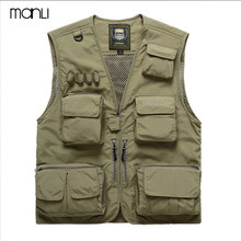 MANLI Men Outdoor Fly Fishing Vest Summer Hiking Hunting Multi-pocket Waterproof Waistcoat Professional Photography Jackets(China)