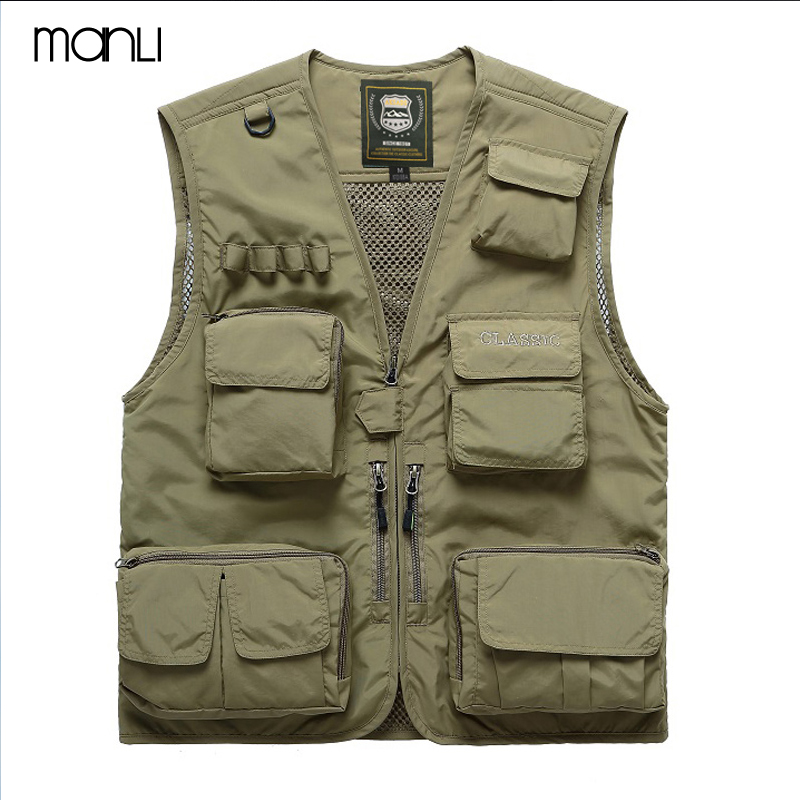 MANLI Men Outdoor Fly Fishing Vest Summer Hiking Hunting Multi-pocket Waterproof Waistcoat Professional Photography Jackets