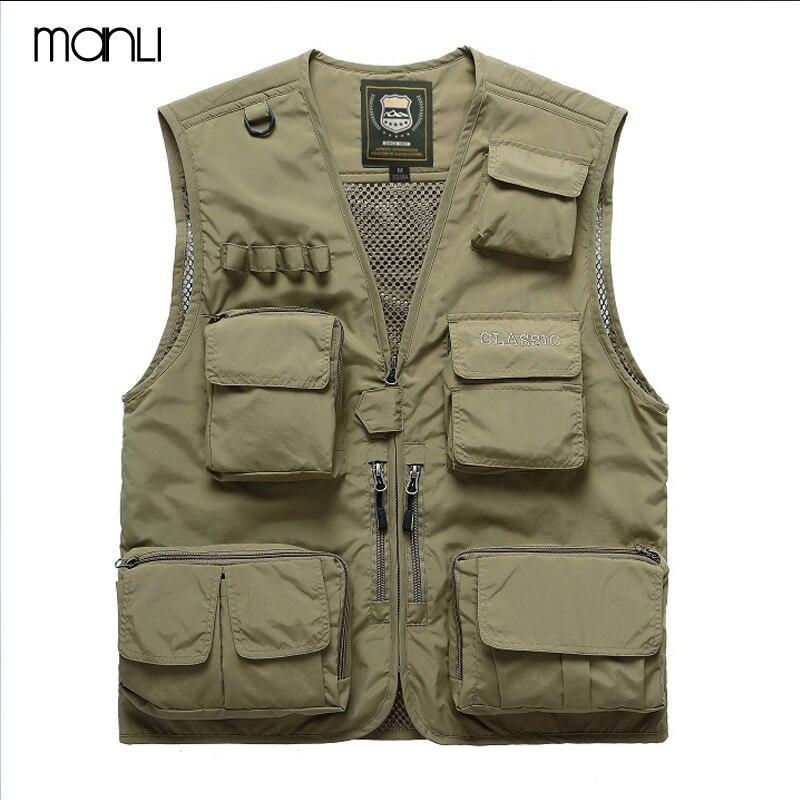 MANLI Men Outdoor Fly Fishing Vest Summer Hiking Hunting Multi-pocket Waterproof Waistcoat Professional Photography Jackets