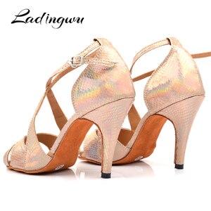 Image 4 - Ladingwu Yeni Marka Dans Ayakkabıları Kadın Latin Benzersiz Yılan doku PU Salsa Dans Ayakkabıları 10 cm Topuklu Tango Profesyonel yapmak ayakkabı