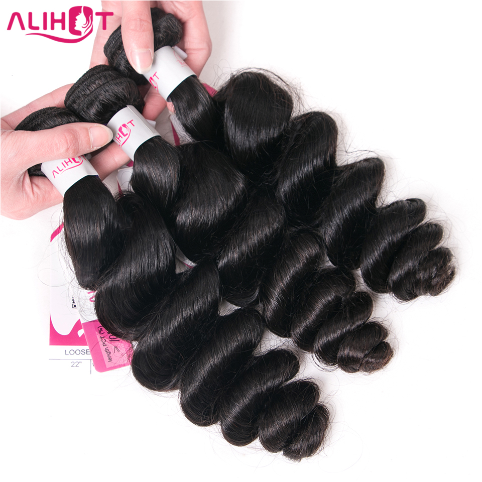 ALI HOT Hair Loose Wave Indian Remy Hair Weave Bundles 3pcs Natural Color Human Hair Bundles Machine Double Weft Hair Extensions