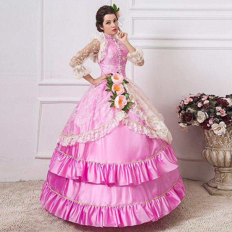 Pour 2018 Dentelle Femmes Robes Robe Longue Rococo Stand Rose Col Costume Partie Bal De Belle Baroque Personnalisé Les Southern Mascarade TqwdRCHxRn
