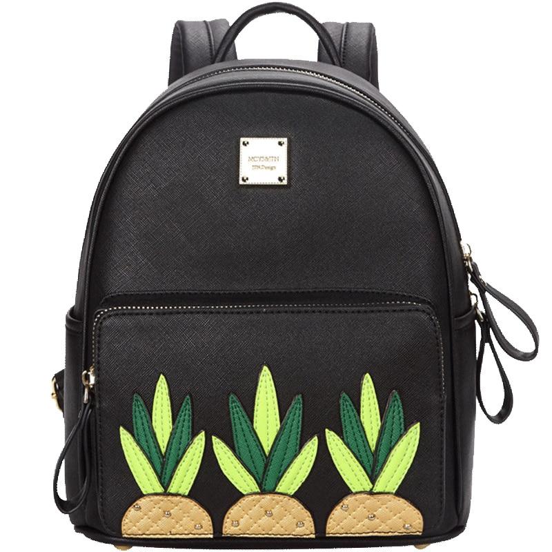 2017 Fashion Pineappl Printed Feminine Backpac High Quality Cartoon Print Schoolbag Satchel Backpacks For Teenage Gir
