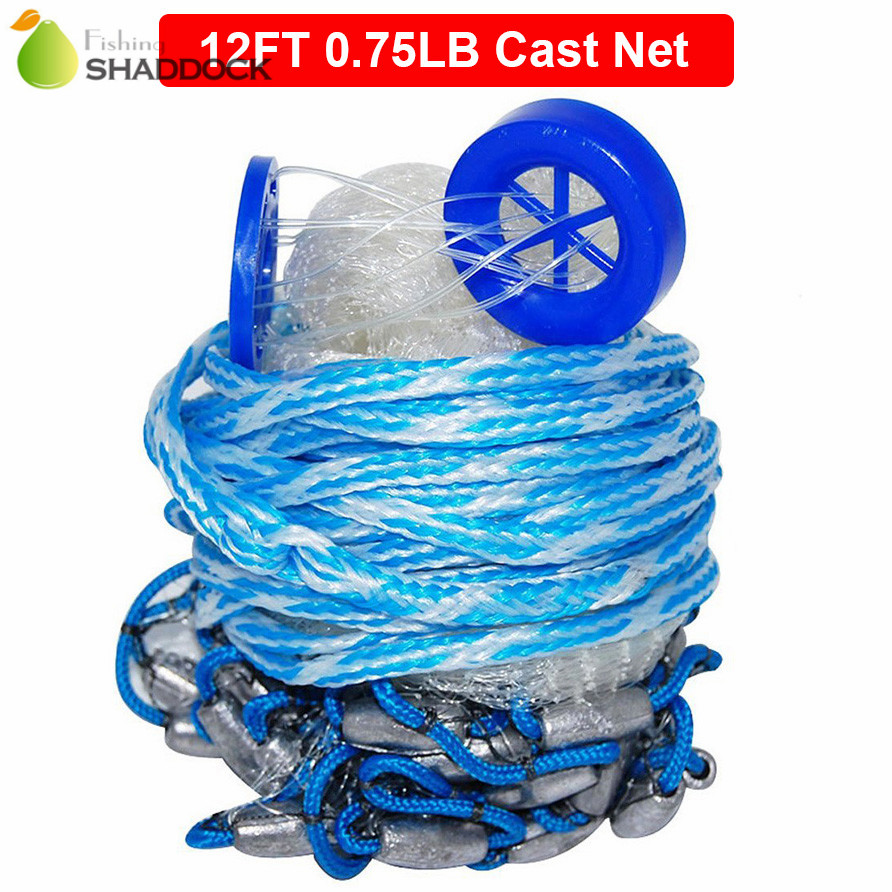 12 Feet Radius 0.75LB Fishing Cast Net American Heavy Duty Real Lead Weights Hand Throwing Trap Net With Plastic Bucket