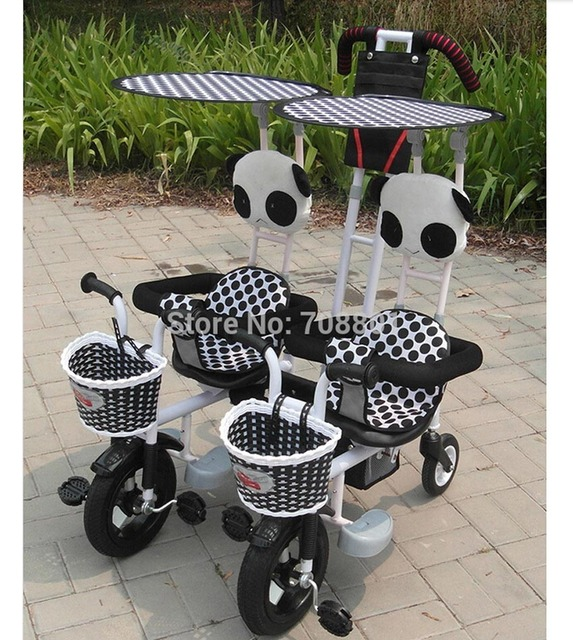 Panda Multifunctional air wheel twins pedal tandem trike, removable push rod,infant stroller for twins,twins bicycle
