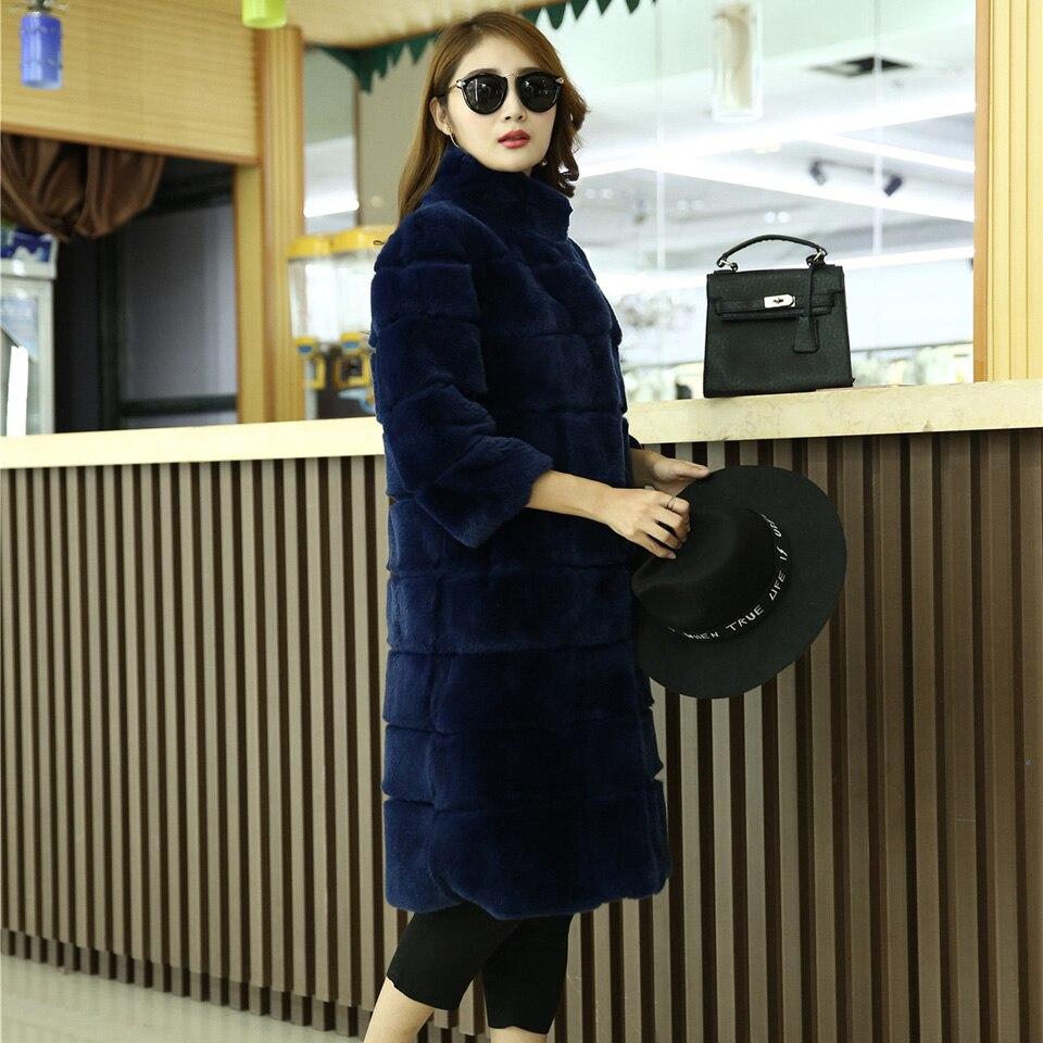 Réel red Rex Genuine De black 100 Hiver Style blue Grey Femmes Lapin 2017 Chaud New Long Naturelle Épais Manteau Fourrure Veste fwxUEEOF