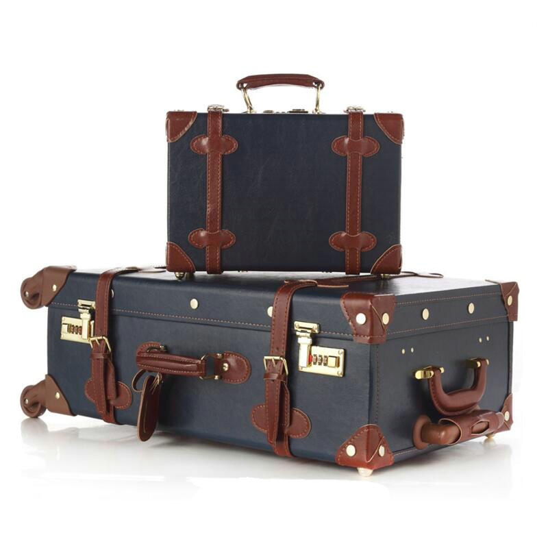 Fashion Women Travel Suitcase PU Leather Vintage Luggage Set ...