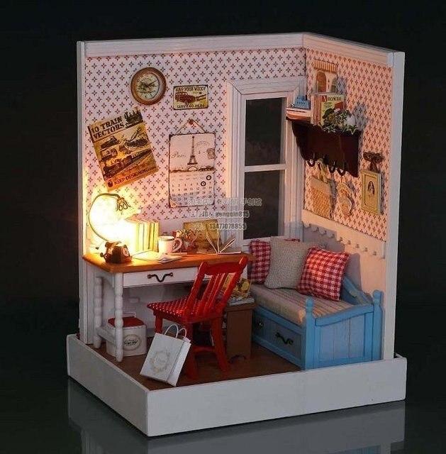 A Corner Of Led Light Dollhouse Room Miniatures Warm Memories Scene