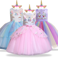 Unicorn Party Dress Kids Dresses For Girls Elsa Costume Cinderella Dress Children Girls Princess Dress fantasia infantil vestido