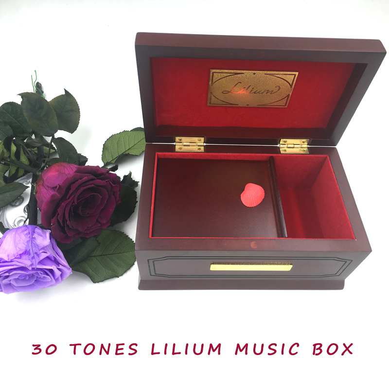 30 Tones Edition Lilium Elfen Lied Original Wooden <font><b>Music</b></font> Box, Beech,Solid Wood, Lilium <font><b>Music</b></font> Boxes for Girl Valentine