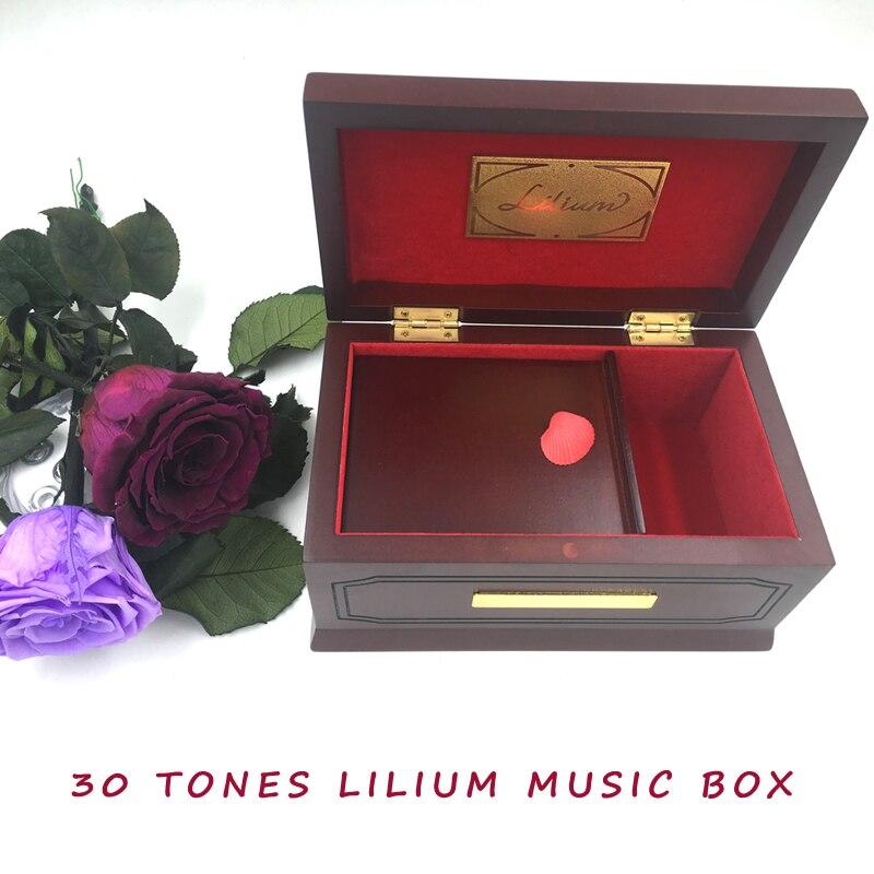 30 tons Édition Lilium Elfen Menti D'origine Boîte à Musique En Bois, Hêtre, Bois Massif, lilium Boîtes à Musique pour Fille cadeau de la Saint-Valentin