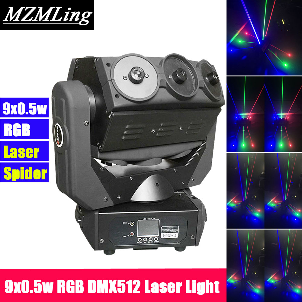 9x0.5w RGB LED Laser Light DMX512 Spider Light Moving Head Light DJ /Bar /Party /Show /Stage Light LED Stage Machine mini laser light r g color stage light dj bar party show stage light led stage machine