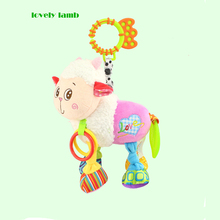 Multi functional Early Education Musical Hanging Toys with Squeaker and Teether Pram Soft Rattle Toy Stroller Plush Comfort Toy with Music Box