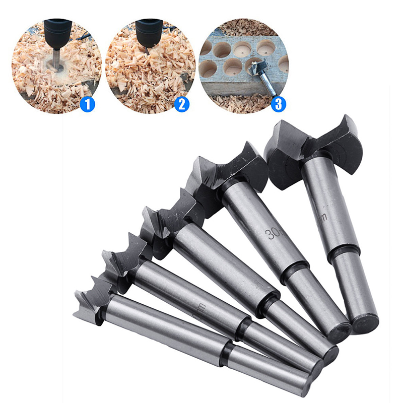 5pcs Wood Drill Bit Hole Saw Woodworking Cutter Tool with Round Shank for Wood Cutter Tools 15/20/25/30/35mm 1set 50mm sds plus shank concrete cement stone wall hole saw drill bit with 200mm connecting rod wrench