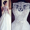 Don's Bridal Vintage Wedding Dress Beaded Court Train 2016 See Scoop Neck Sleeveless Sexy A Line Bride Gowns