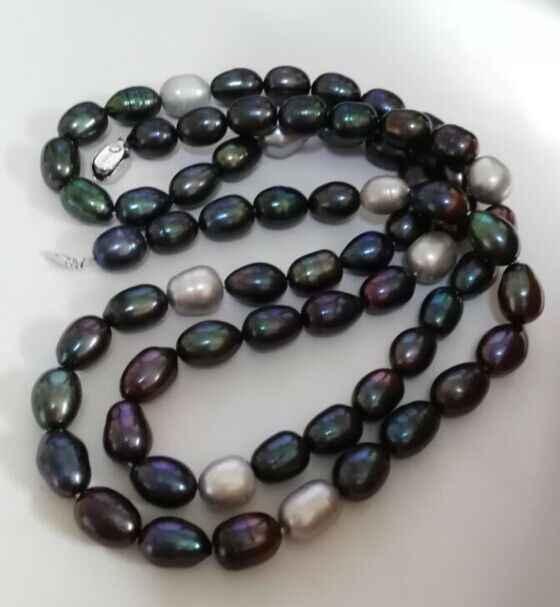 Великолепная 12-13 мм природный tahitian черный серый зеленый жемчужное ожерелье 36 дюймов (9.13)