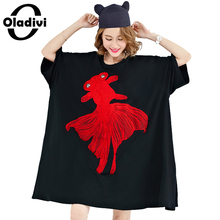 Oladivi Plus Size Summer Women T-Shirt Red Goldfish Embroidery Tops Shirts Female Casual Tees Tunics Loose Dress Black 10XL 9XL