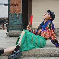 2019 Handmade SELLWORLDER Embroidered Ribbon Chinese Style Vintage Irregular long Skirt