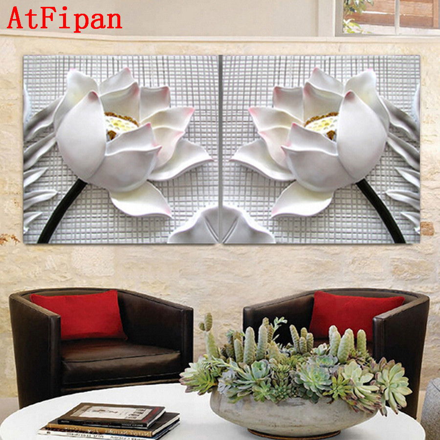 Atfipan 3d White Lotus Definition Pictures Canvas Home