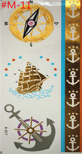 Temporary tattoos naval style gold necklace bracelet tattoo products metal women flash metal of fake gold