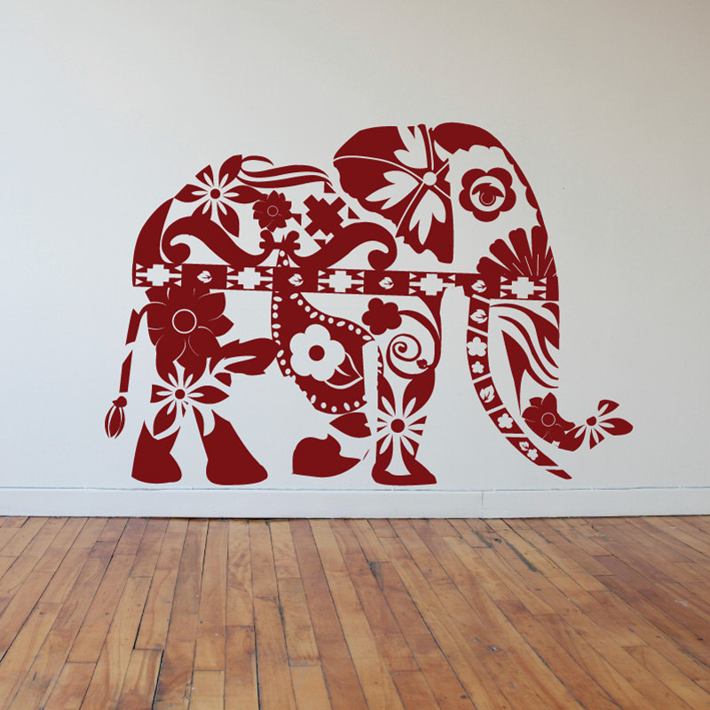 Bohemian Elephant Wall Decal Floral Moraccan Pattern Wall Stickers Vinyl Home Interior Removable Fashion Design Art Mural SYY796 in Wall Stickers from Home Garden