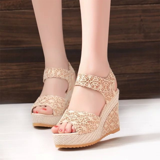 Nett Einfarbig Plattform Weibliche Schuhe Offene Spitze Frauen Sandalen Keile Sandale Frauen Sandalen Schuhe