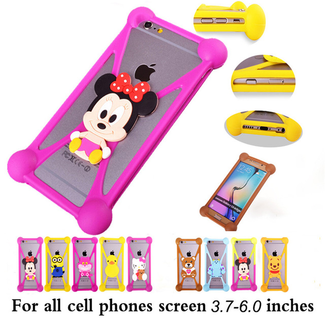Cute 3D Cartoon Silicone Universal Cell Phone Holster Case Fundas For Fly IQ239 ERA Nano 2 Case Silicon Cell Phone Coque Cover