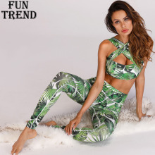 Women Sport Suit Fitness Push Up Yoga Set Printed 2 Pieces Running Jogging Top+Pants Clothing