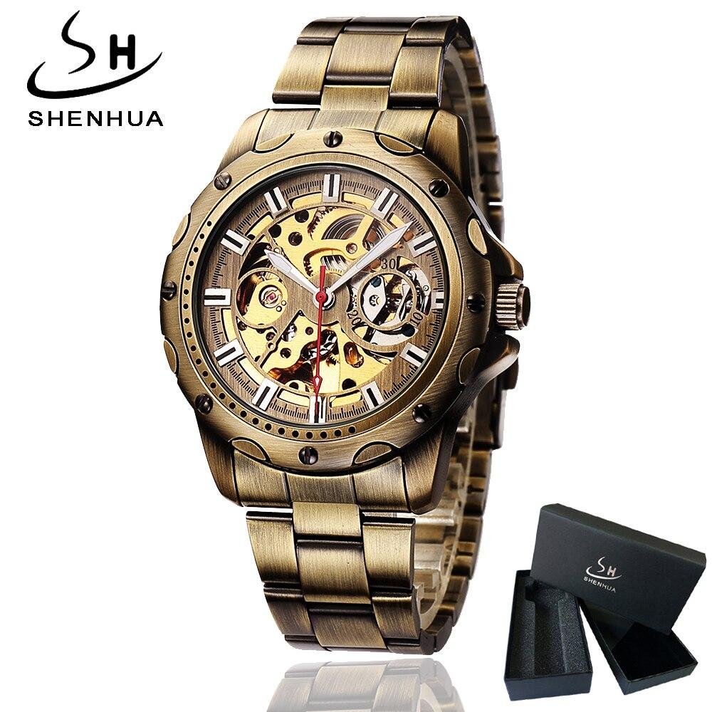 Shenhua Herren Bronze Skeleton Automatische Armbanduhr Mechanische Selbst Wickel Männer Uhren Metall Stahl Strap Armbanduhr Mann relogio