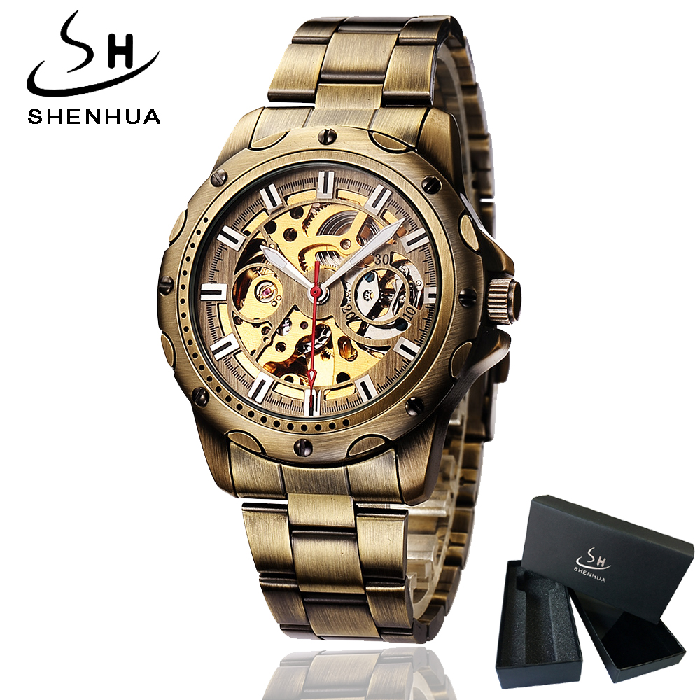 Shenhua Mens Bronze Skeleton Automatic Wrist Watch Mechanical Self Winding Men Watches Metal Steel Strap Wristwatch Man relogio