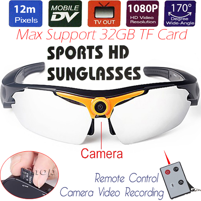 12MP CMOS Sports Sunglasses Mini DV Sunglasses Motion Camera 1080P HD Digital Video Recorder Photo DVR TF USB TV Remote Control 480p 2017 digital hd cmos 2 0 camera video audio mini camera small camcorde dv dvr recorder web cam