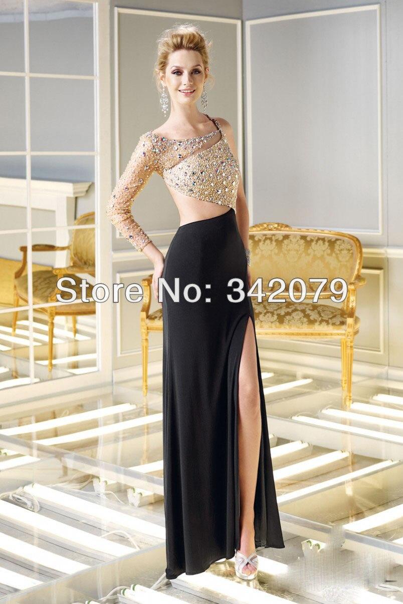 Fustana 2015 modele te fustanave 2015 dresses 2015 fustana modele te - Ph11762 One Shoulder Sleek Jersey Dress Peek A Boo Openings And A Sheer Beaded Sleeve