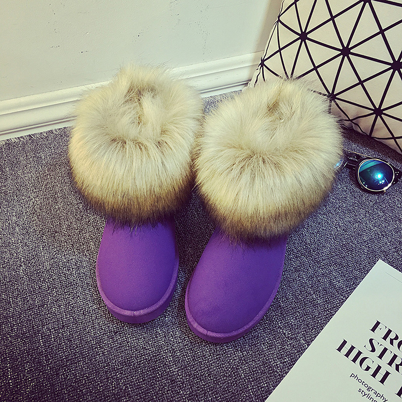 Women Snow Boots Plus Size Faux Fur Ankle Boots For Female Casual Footwear Plus Size Platform Fashion Tassels Flat Shoes platform bow faux fur ankle boots