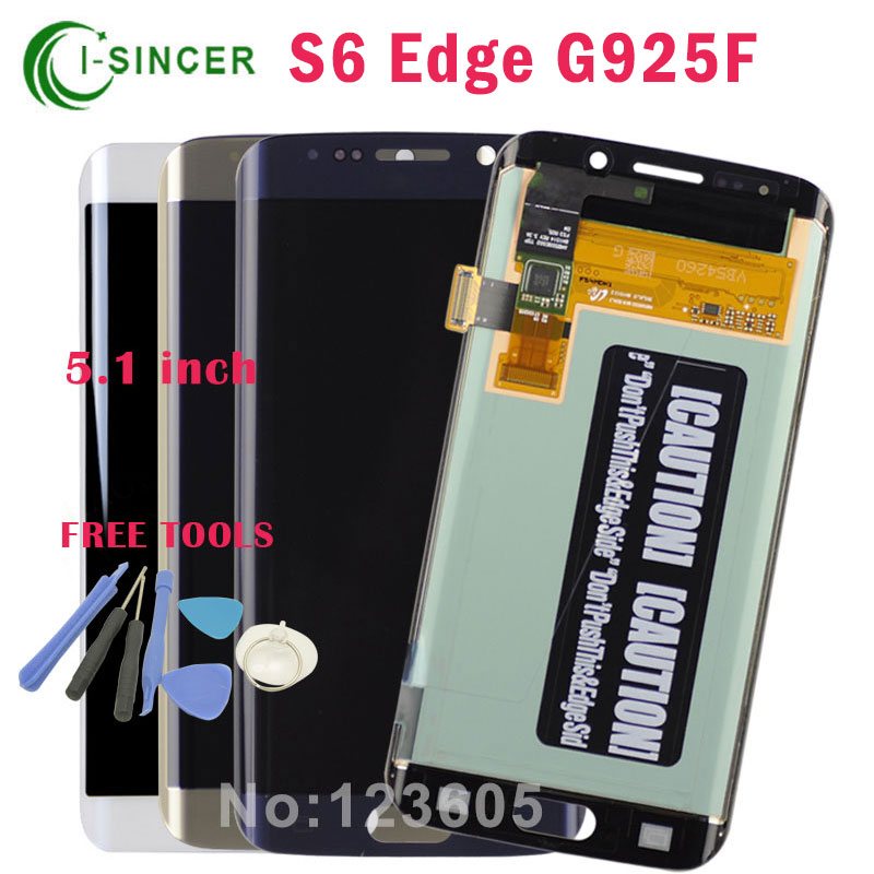 5.1 Gold,Blue,White LCD Display Touch Screen Digitizer Assembly For Samsung for Galaxy S6 Edge G925F Free Shipping