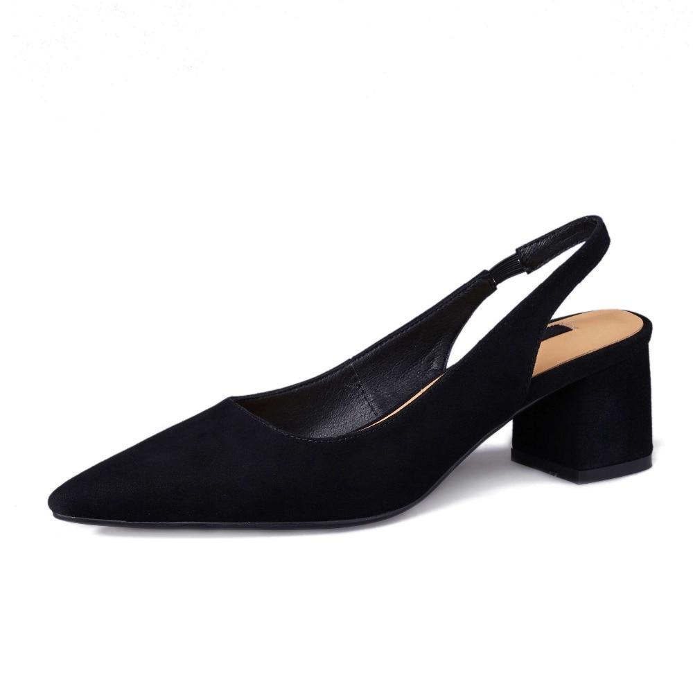 2019 elegant lady stałe slingback slip on prawdziwej skóry chunky med obcasy high street moda zakupy model buty w stylu L20 w Średni obcas od Buty na  Grupa 3
