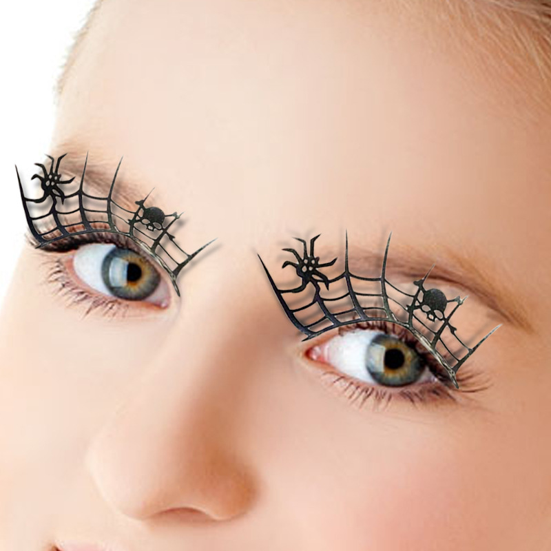 Online Shop 1pair Paper Cut Spider False 3d Lashes Beauty Cosplay