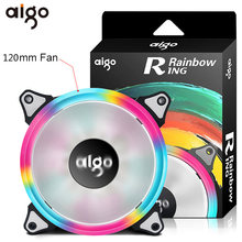 Aigo Halo LED Ring Fan 120mm Silent PC CPU Cooling Quite Case Rainbow Fan 4pin+3pin for Computer Case Fans CPU Cooler Radiator(China)