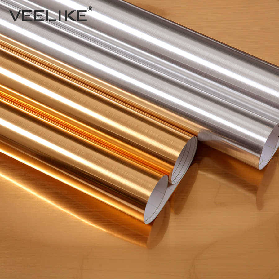 Pvc Vinyl Stainless Steel Self Adhesive Wallpaper Fridge Dishwasher Liance Contact Paper Shelf Liner Kitchen Wall