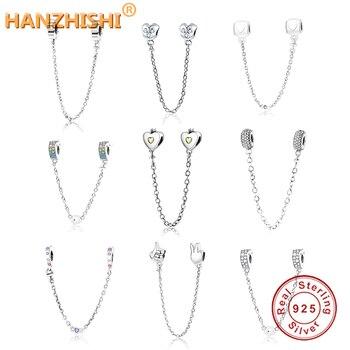 2018 najnowszy 925 Sterling Silver serce łańcuch bezpieczeństwa Charms koraliki z CZ pasuje oryginalny bransoletka typu charm Pandora DIY tworzenia biżuterii