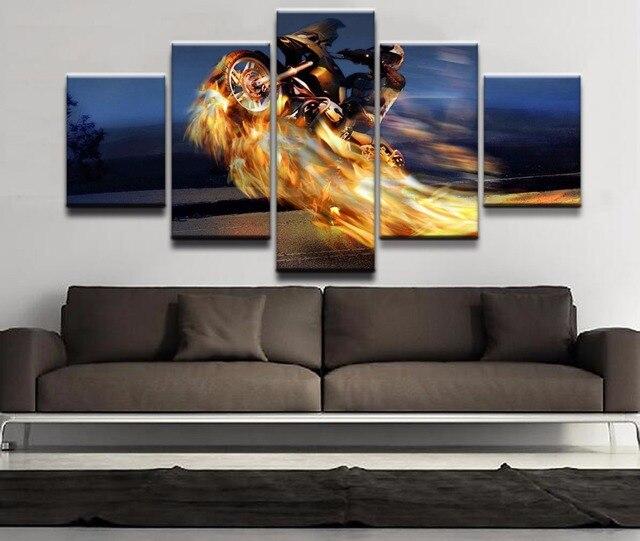 Toile motocross en feu 2