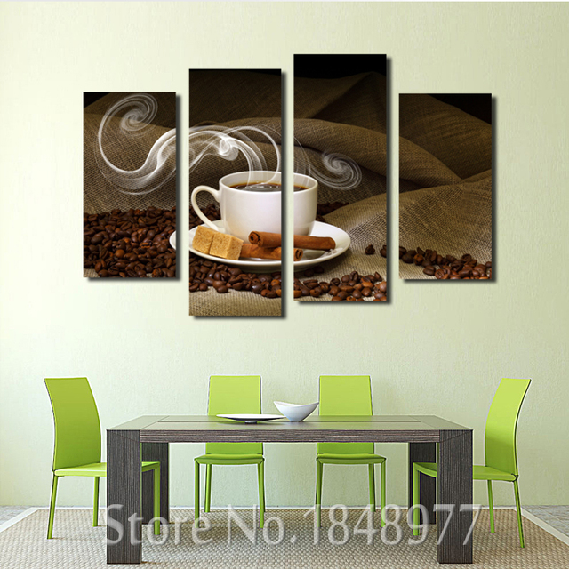 kitchen wall art coffee themed items 4 piece painting cup plate pictures prints on canvas for home modern decoration print