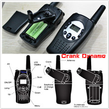 T088 twin pack crank hand dynamo moveable wind-up walkie talkies radios cell talkie walkie radio pair PMR/FRS +flashlight