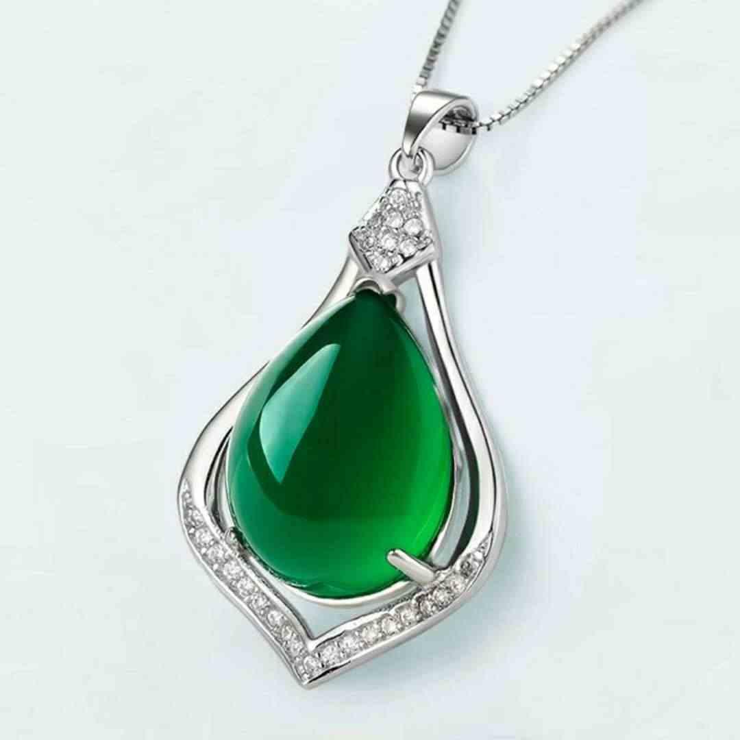 เงิน S925 สร้อยคอ Chalcedony หยกจี้สำหรับสตรีอัญมณี Clavicle Emerald peridot เครื่องประดับ 925 สร้อยคอ Bizuteria จี้