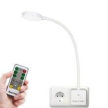 תקע שלט רחוק גמיש LED המיטה קריאת לילה מנורת Dimmable LED כוח שקע אור 4W אירופאי תקע 1 מנורת 1 Rem