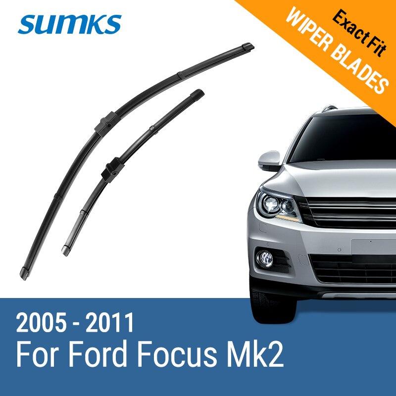 SUMKS Lames D'essuie-Glace pour Ford Focus Mk2 Hayon/Immobilier/Convertible/Berline/C-Max 2005 2006 2007 2008 2009 2010 2011