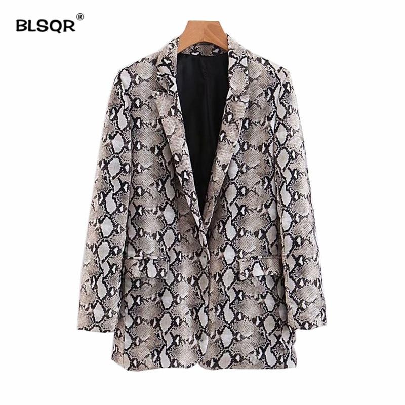 Women Vintage Snake Print Blazer Pockets Notched Collar Long Sleeve Coat Female Outerwear Fashion Casaco Feminine Tops